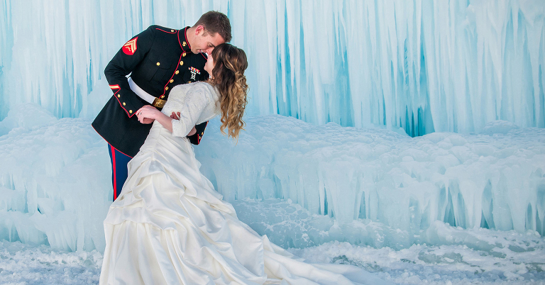 Bride and groom at the Midway, Utah Ice Castles