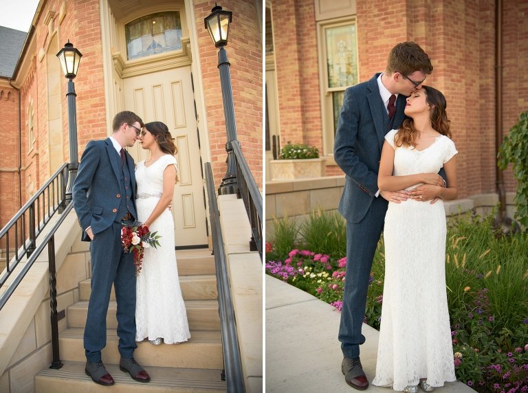 Bride and groom pose for formal wedding photos at the Provo City Center Temple