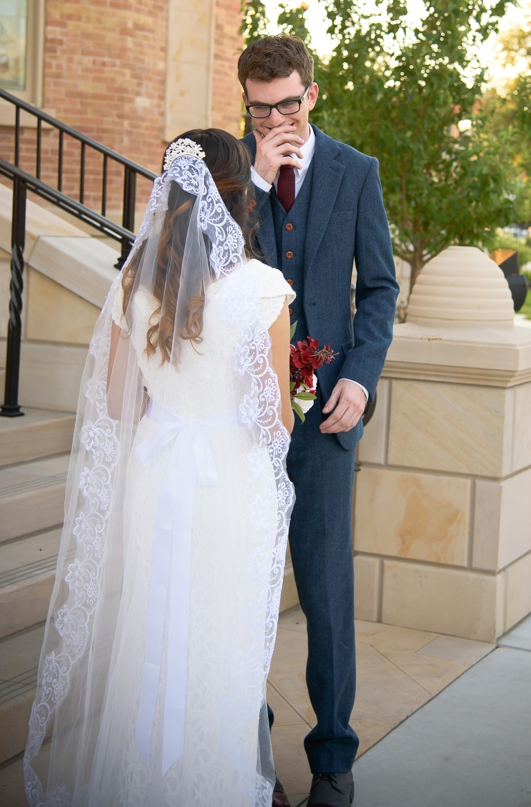 Groom sees his bride for the first time at the Provo city Center Temple