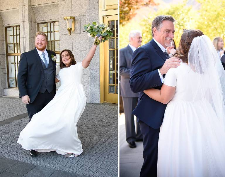 bride and groom greet guests at the Draper LDS temple