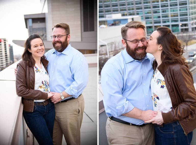 Engagement photos on downtown Salt Lake City rooftop