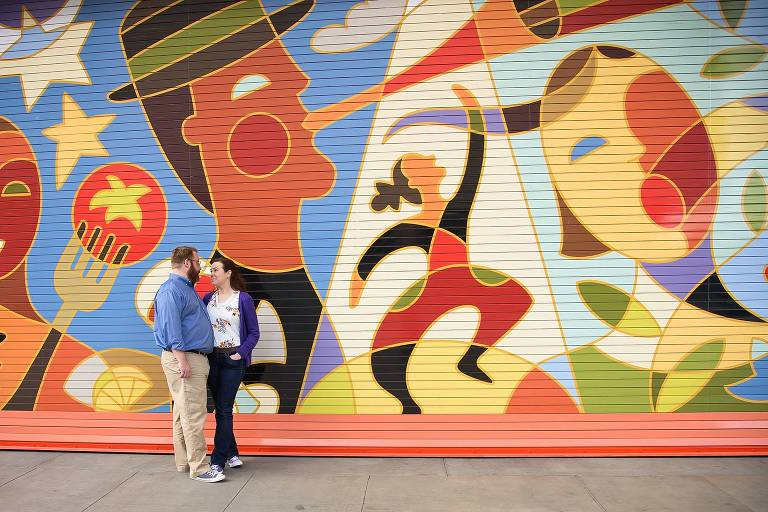 Engagement photos with Salt Lake City Eccles Theatre mural